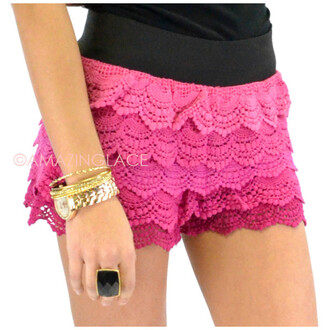shorts ombre high waisted shorts crochet shorts hot pink fuschia shorts summer spring
