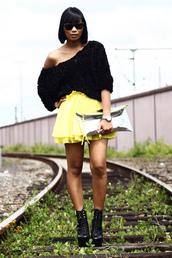 neon,mode junkie,yellow skirt,skirt