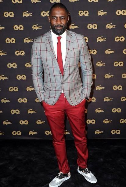 jacket idris elba red blazer grey checked hair accessory