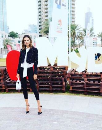 bag pumps blouse instagram alessandra ambrosio