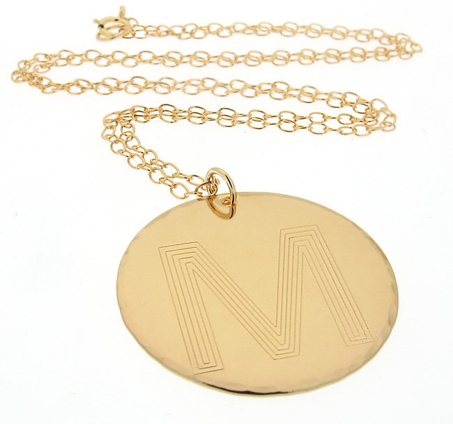 b7f70ad8d2047 Monogram Initial Pendant - Personalized Gold Necklace - Large Letter  Engraved Disc - Gift for Her - Monogram Necklace - Big Initial Pendant