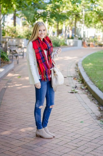 life with emily blogger sweater scarf shoes bag