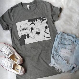 shirt sailor moon goku anime anime shirt food t-shirt dragon ball z short sleeve