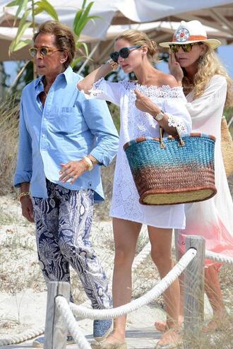 dress lace dress white dress white lace dress olivia palermo bag
