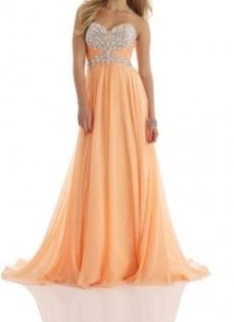 dress peach prom dress