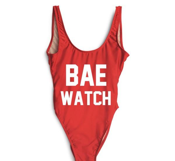 swimwear red bae watch swimsuit one piece swimsuit red swimwear neon swimsuit