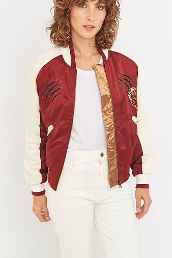 feff63c79 Silence Noise Stays On Tour Red Satin Bomber Jacket - Urban Outfitters