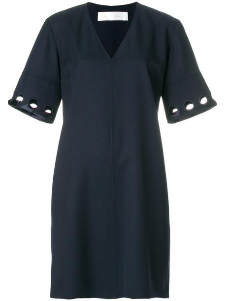 dress shift dress women blue silk wool