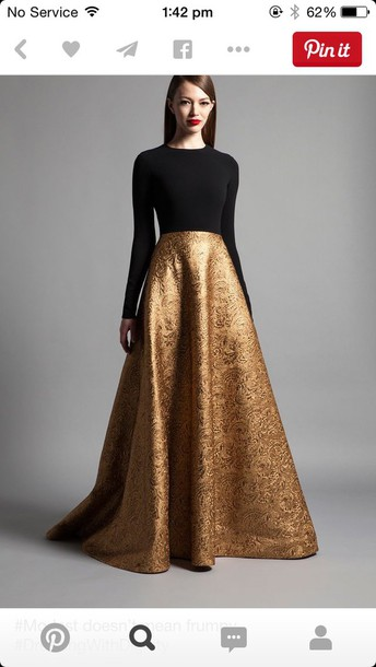 0aecb515175a5 skirt, elegant, prom dress, gold, maxi dress, dress, prom, black and ...