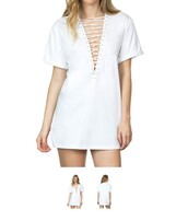 dress,lace up,white,white dress,t-shirt dress,criss cross