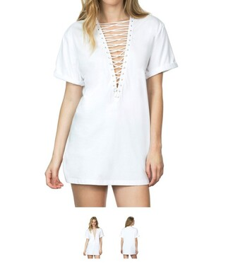 dress lace up white white dress t-shirt dress criss cross