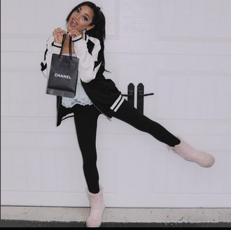 shoes gabriella demartino gabi demartino chanel ugg boots girl girly cute black pink tumblr instagram youtuber winter outfits teenagers boots shoes winter jacket