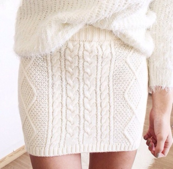 skirt white cream white skirt tubeskirt knitwear
