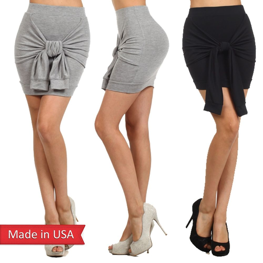 Women solid color knit black fitted wrapped mini skirt w/ tie detail ribbon usa