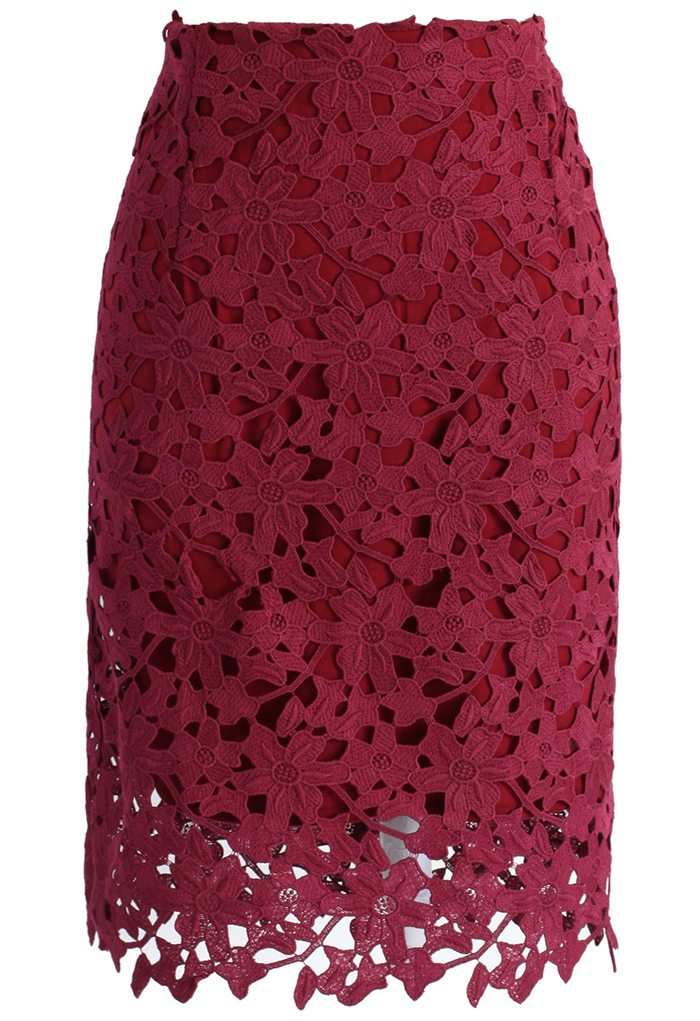Full Flower Crochet Pencil Skirt in Wine - Retro, Indie and Unique Fashion