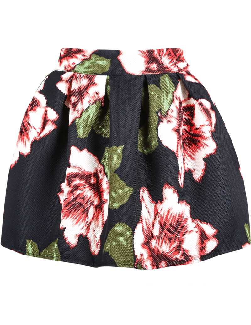 Black Floral Flare Skirt - Sheinside.com