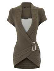 sweater,brown,wrap around,short sleeve