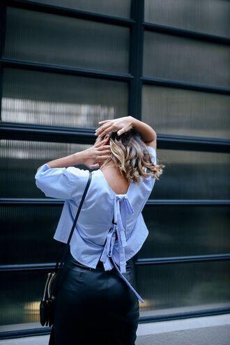 top tumblr blue top open back backless backless top baby blue skirt black skirt black leather skirt leather skirt bag black bag