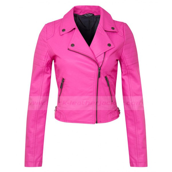 Jacket Black Leather Jacket Pink Faux Leather Jacket