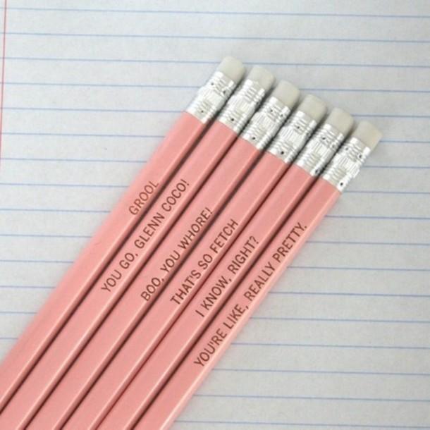 meangirls pencils pretty pink pastel desk tumblr grunge etsy school supplies