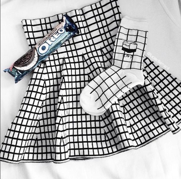 socks milk grunge skirt