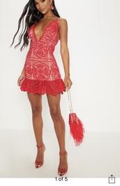 dress,red dress,nude,lace dress