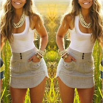 dress white top casual dress sleeveless mini dress sleeveless dress mini dress ring sexy dress summer dress summer outfits party dress brunette short dress sexy white dress fashion girly necklace gold white top grey dress jumpsuit