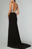 Sexy Black Jeweled Sheer Top Elegant Side Slit - Juicy Wardrobe