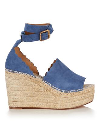 sandals wedge sandals suede light blue light blue shoes