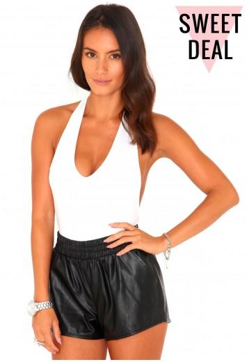 Almina Value Thong Halterneck Bodysuit In White