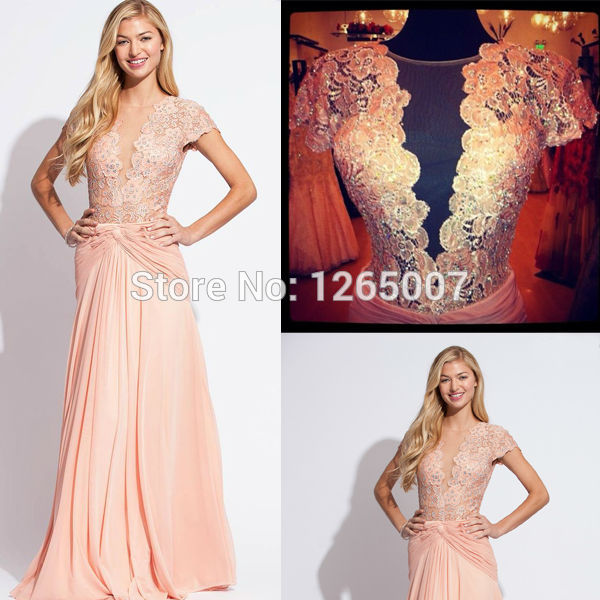 Aliexpress.com : Buy 2014 Deep V neck Cap Short Sleeves Nude Lace Silvery Beaded Chiffon A Line Beautiful Prom Dress Fashion Gowns from Reliable dress wedding gown suppliers on SFBridal
