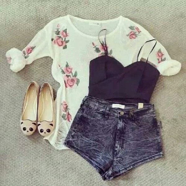 shoes blouse floral crop top tank top High waisted shorts flats shirt