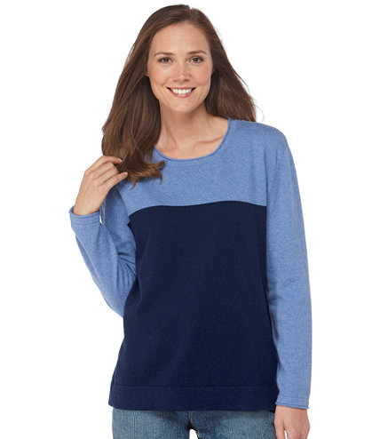 Double L Cotton Sweater, Long-Sleeve Cable Crewneck: Crewnecks   Free Shipping at L.L.Bean