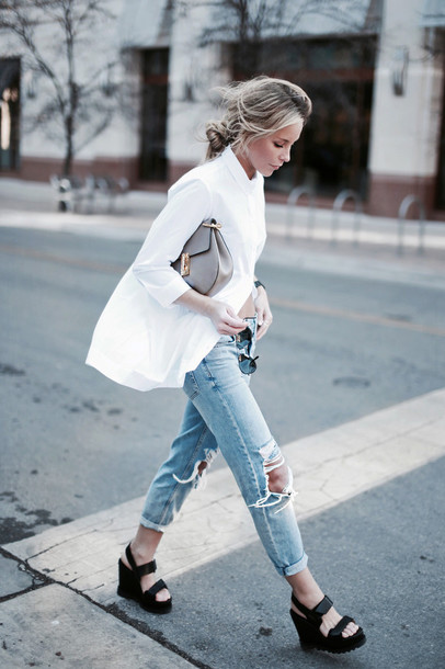 happily grey blogger shoes shirt white shirt jeans ripped jeans light blue jeans ripped back to school