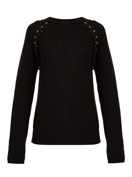 No. 21 sweater wool sweater embellished wool knit black