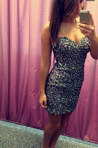 prom dress sequins short dress silver dress sparkly dress homecoming dress