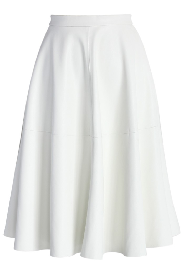 Faux Leather Full Midi Skirt in White - Retro, Indie and Unique Fashion