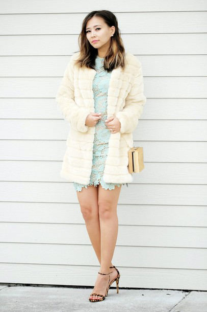 different cands blogger aqua fur coat lace dress sandals classy dress coat shoes