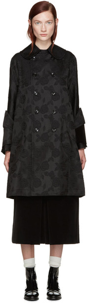Comme Des Garçons Black Floral Jaquard Coat