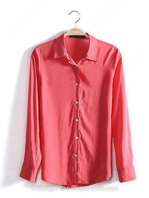 Red Lapel Long Sleeve Casual Loose Blouse - HandpickLook.com