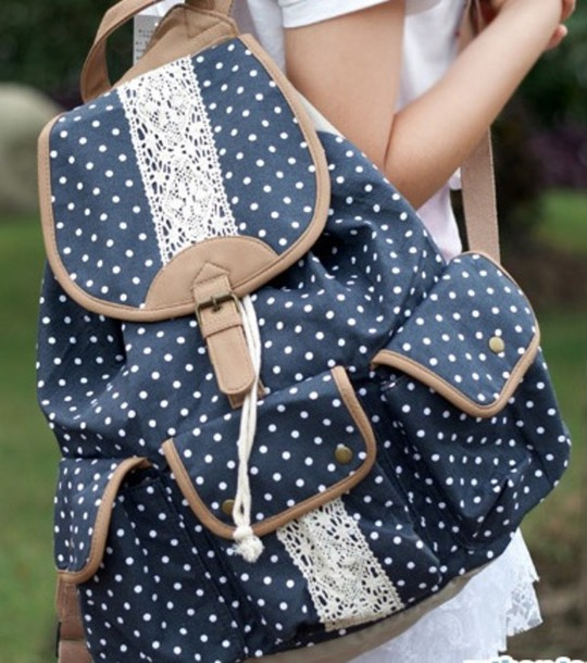Bag: rucksack, printed backpack, backpack, polka dots, navy, cute ...