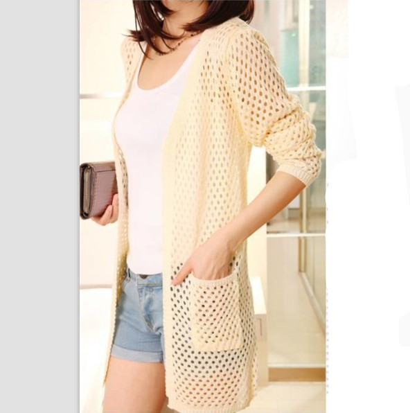 Hot Sale Hole Knit Design Pure Color Cardigan Beige