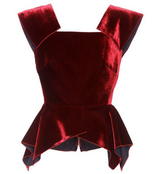 Roland Mouret top velvet top velvet red