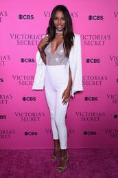 top,bodysuit,jasmine tookes,pants,sandals,model,white,victoria's secret,victoria's secret model,lace up,lace lingerie