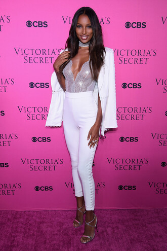 top bodysuit jasmine tookes pants sandals model white victoria's secret victoria's secret model lace up lace lingerie