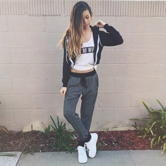 leggings pants high waisted highwaisted sweatpants air jordan sweatpants high waisted pants ombre hair zip up jacket zip up hoodie aint no wifey\ t-shirt white shirt shoes hair accessory shorts shirt jacket jeans jewels joggers grey black sweats hot tumblr cute kawaii nice funny sweater grunge bad  girl gray graphic tee perfecto fashion hoodie girl