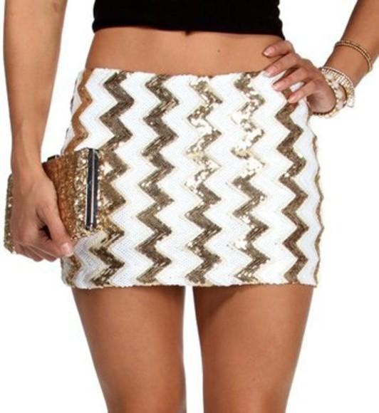 gold skirt white fashion sequins