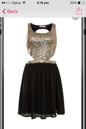 dress,gold,sequins,black,gold sequins,jewels