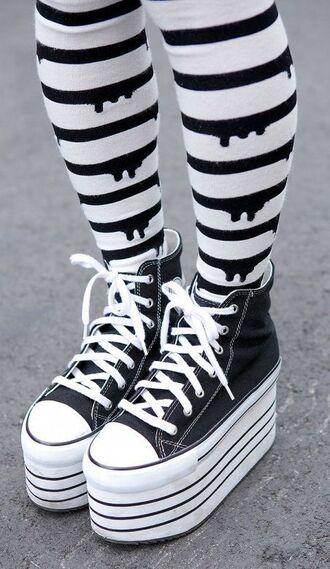socks converse platforms black drip dripping