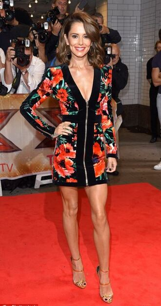 dress plunge dress zip floral dress flowers floral mini dress cheryl cole